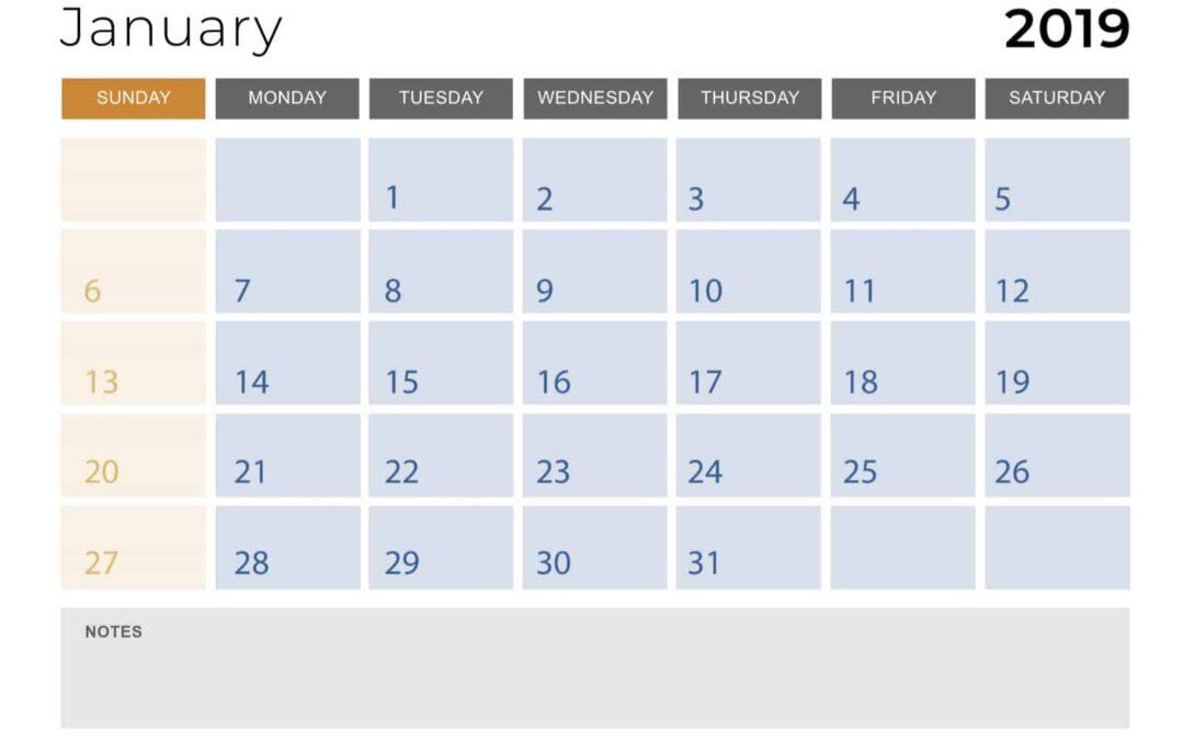 2019-January-Monthly-Calendar