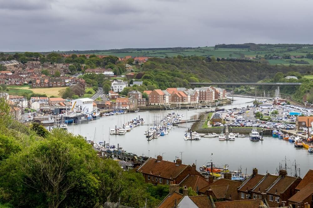 view-from-199-steps up in Whitby