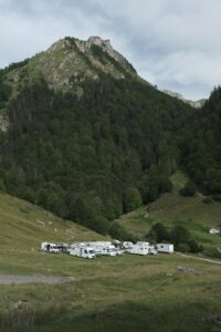 Group of RVs camping